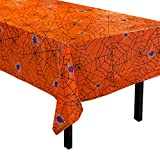 Juvale 6-Pack Halloween Table Covers - Spooky Spider Web Themed Table Cloth - Black & Orange, 54 x 108 Inches