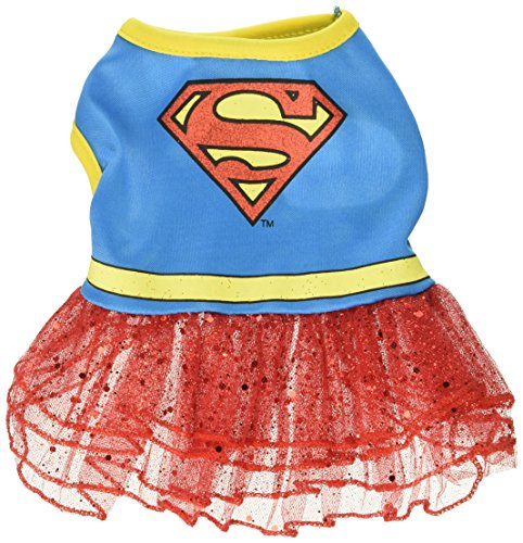 DC Comics Supergirl Dog Costume with Red Glitter Skirt, X-Small | Best Superhero Dog Costume For All Small Dogs