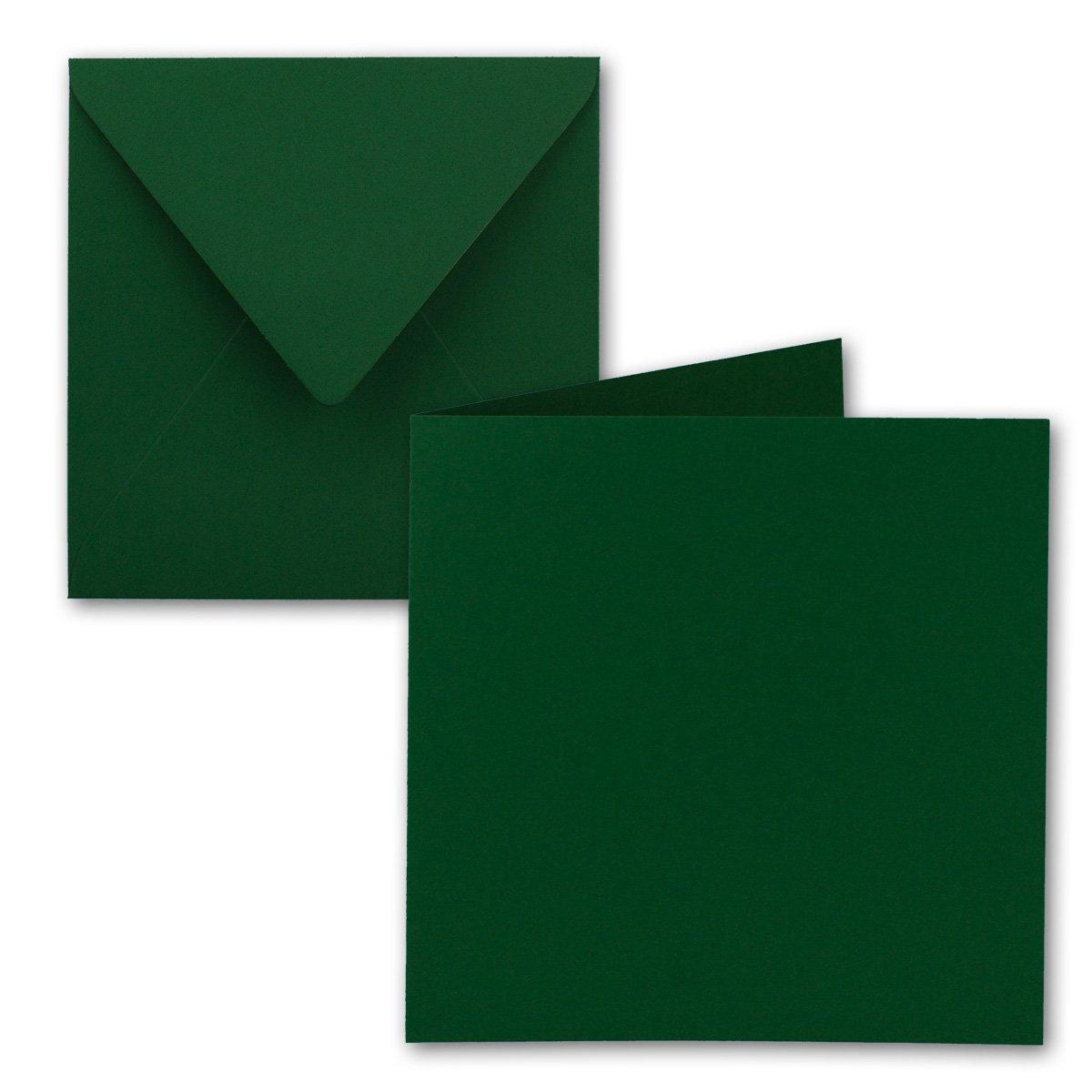 Quadratisches Falt-Karten-Set   15 x 15 cm - mit Brief-Umschlägen   Dunkelgrün   50 Stück   für Grußkarten, Einladungen & mehr   Qualitätsmarke: FarbenFroh® von GUSTAV NEUSER®