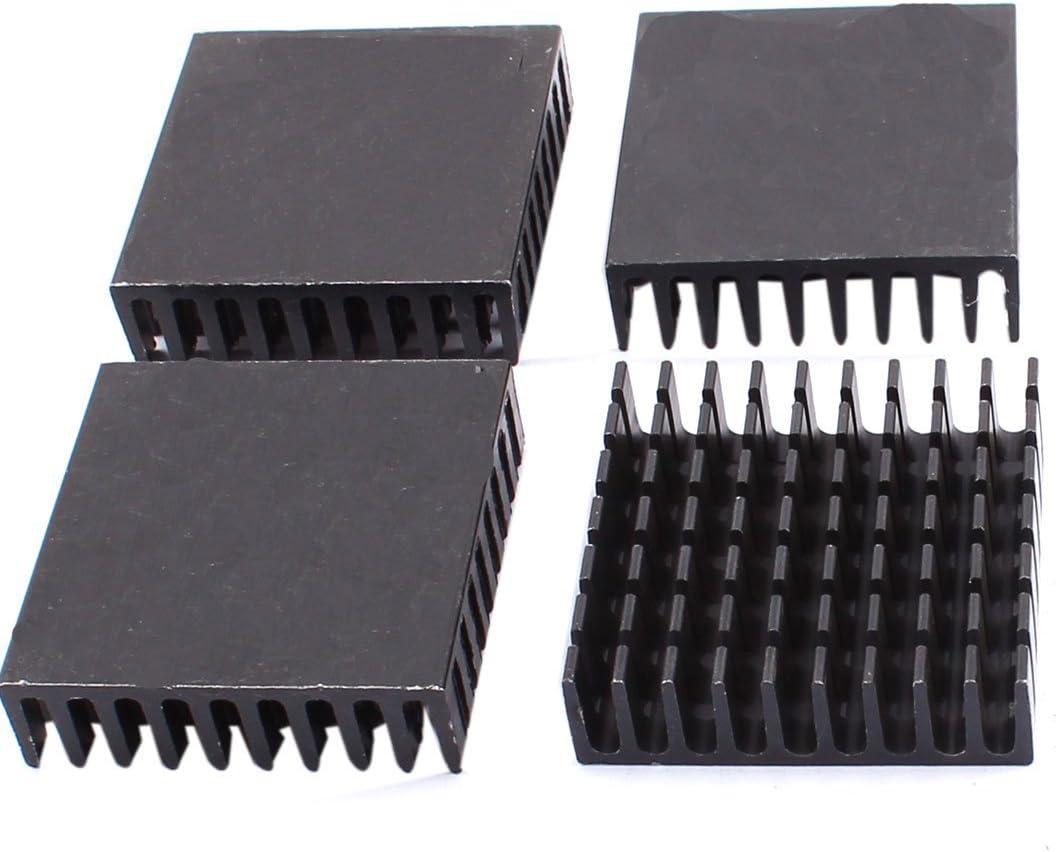 NA Aluminum Square Heat Sink Fin Cooler 40 x 40 x 11 mm 4 Pieces Black