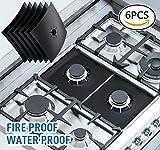 "6 burner stove - UNEEDE 6 Pack Stove Burner Covers Liners,Non-Stick Reusable Gas Hob Range Protectors, 10.6""x 10.6"", Black"