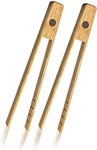 Toaster Tongs With Magnet | Kitchen Utensils For Cooking & Holding Toast Bacon Muffin Bagel Bread | 8 Inch Long Natural Toxic Free Bamboo| 2 Untis Set