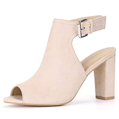 b05b52c33 Allegra K Women Block Heel Sandals Slingback Beige Peep Toe Boots - 6 M US