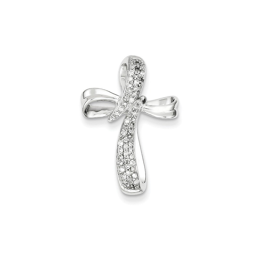 ICE CARATS 14k White Gold Diamond Cross Religious Pendant Charm Necklace Slide Fancy Fine Jewelry Ideal Mothers Day Gifts For Mom Women Gift Set From Heart