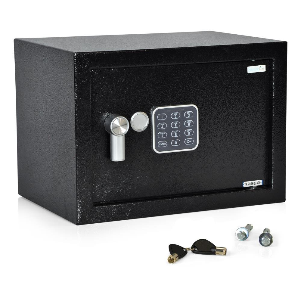 SereneLife Safe Box - Home Security Electronic Safe Lock Box with Mechanical Override | Digital Combination Lock Safe | Includes Keys (SLSFE15)
