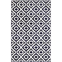 Summit S43 New Navy Blue Morrocan Trellis Area Rug Modern Abstract Rug ,(22 INCH X 7 FOOT HALLWAY RUNNER)