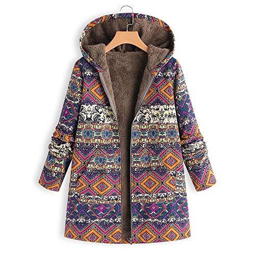 Cappotti Vintage cappuccio Oversize Inverno floreale Zore Cappotto con Caldo Donna Stampa Rosso Tasche Donna Outwear 7xBaq1