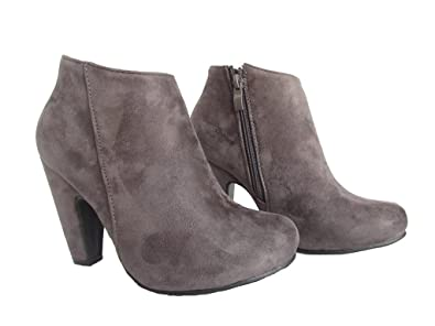 Countless-1 Womens Faux Nubuck Suede High Heel Ankle High Fashion Booties Grey