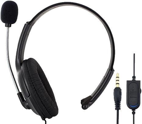 Skque® Headset Single Side Earphone Headphone w/ Microphone for Sony PS4 PlayStation 4, Black [Importación Inglesa]: Amazon.es: Deportes y aire libre