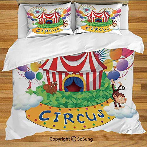 SoSung Circus Decor Bed Pillow Case/Shams Set of 2,Carnival with a Circus Signboard Cirque Leaves Plants Fireworks Monkey Queen Size Without Insert (2 Pack Pillowcase 20