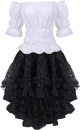 MERSAL Vestido de corsé gótico para mujer, falda steampunk y ...