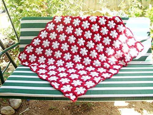Snowflake granny square afghan blanket, handmade snowflake blanket by crochets4world