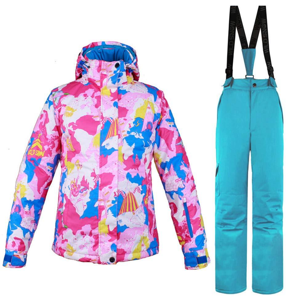 bleu M Gski Femme Veste de Ski Pare, Ventilation Ski Multisport Sports de Neige Polyester Ensemble de VêteHommests Tenue de Ski