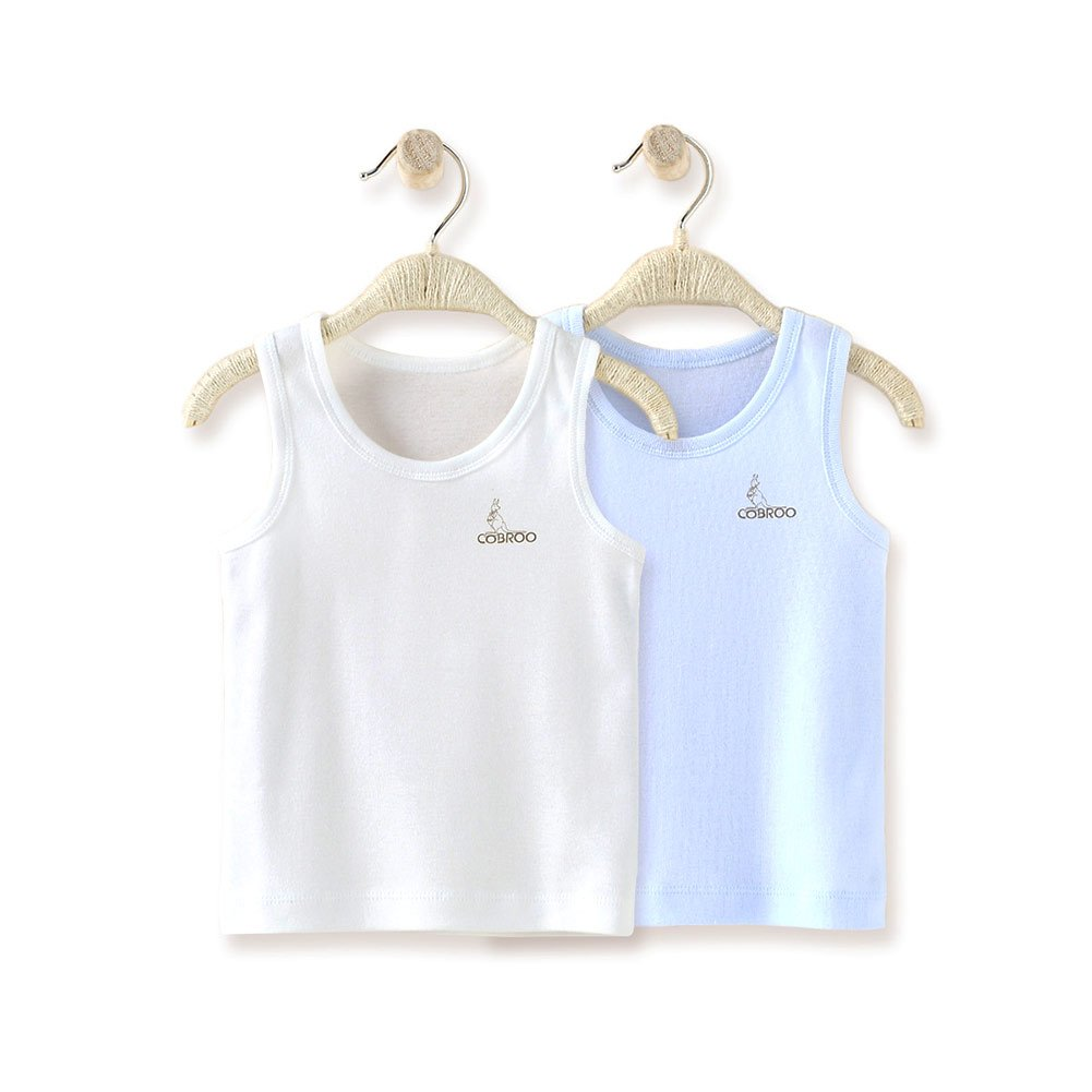 COBROO Newborn Baby Girls Tank Tops Cotton Sleeveless T-Shirts 2-Pack Cami Undershirt 0-5 Years Infant Toddler Le En