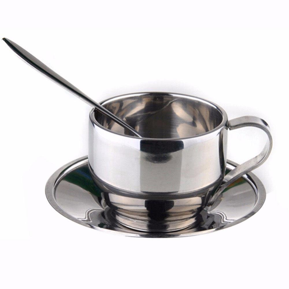 Unmengii Classic Silver Stainless Steel Double-deck Drinkware Coffee Cup Sets Milk Coffee Cup Mugs Spoon Tray