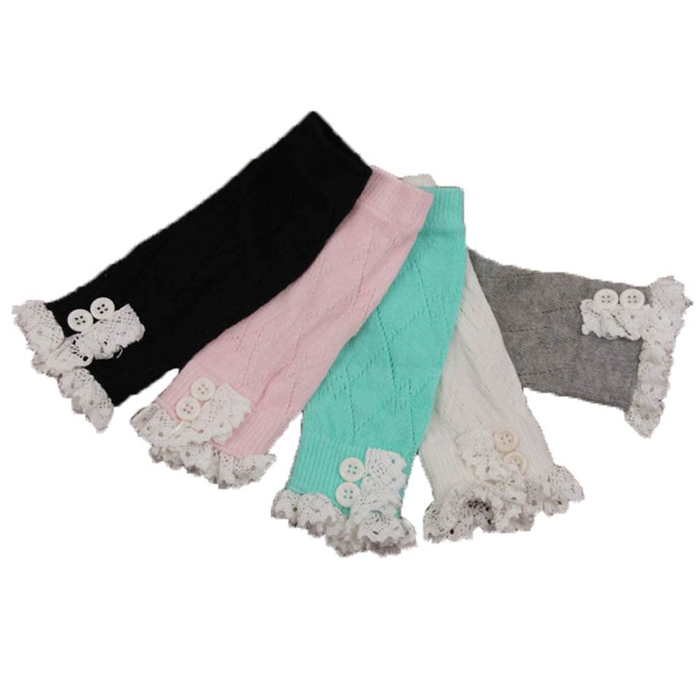 Leg Warmers for Kids Girl's Jelinda Cable Knit Crochet Boot Cuffs Lace Knitted Boot Sock Cuffs 5 Pairs