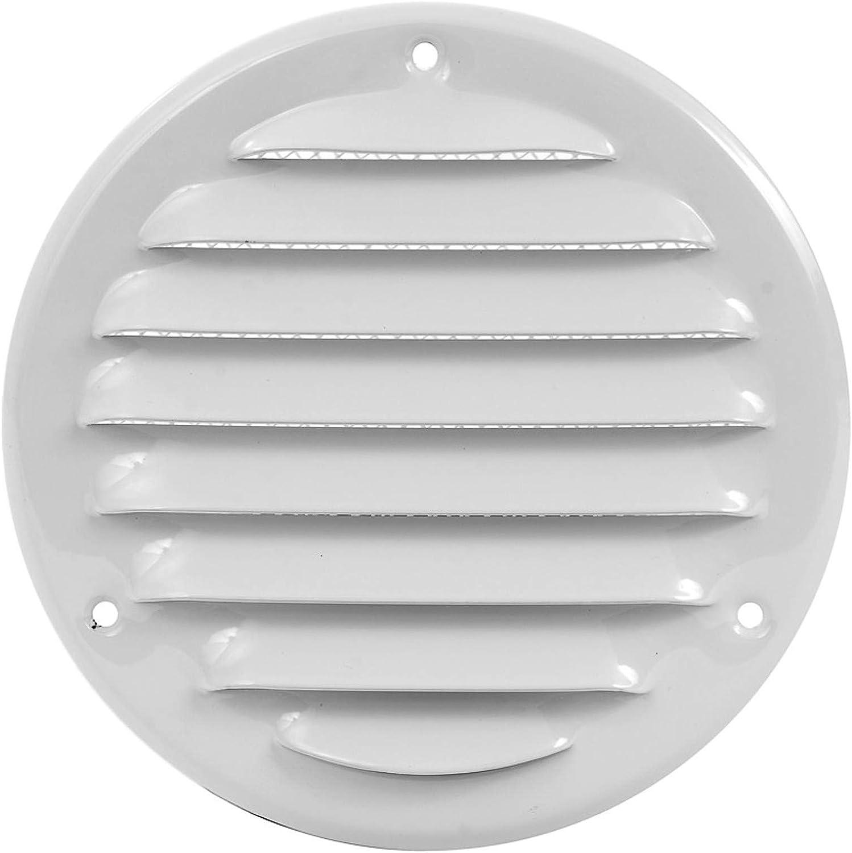 MKK 18529 Grille da/é ration murale en m/é tal verrouillable avec moustiquaire blanc
