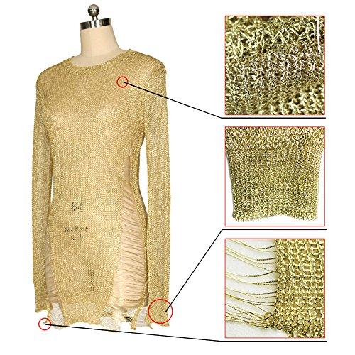 Attraverso Donne Vedere Tagliuzzato D'oro O Vestito Da Partito Maglione Delle Collo Aro Lora Maglia Del UxT0Y4U