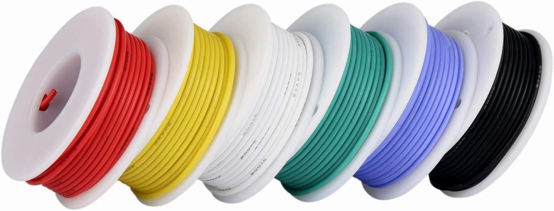 Cable electrónico de calibre 20,Cable flexible de silicona 20 AWG (6 carretes de 7 metros de diferentes colores) cable de color Kit