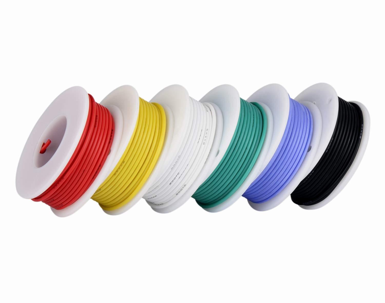 devidoir bobine fil electrique Fil de calibre 24, fil électrique Kit Fil de silicone souple 24 AWG (6