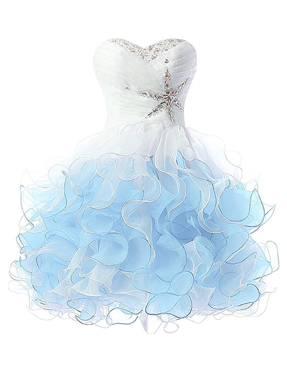 Sky bluee Anlin Women's Beaded Sweetheart Ruffle A Line Short Homecoming Prom Dress AN1184