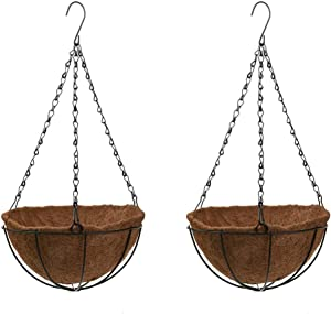 Dewell 2 Pack 10 Inch Metal Hanging Planter Basket with Coco Coir Liner, Round Wire Plant Holder with Chain, Porch Decor Flower Pots Hanger, Garden Decoration Indoor Outdoor Watering Hanging Baskets