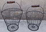 Set of 2 Hand Crafted Shellfish Style Baskets w/ Wood Handle