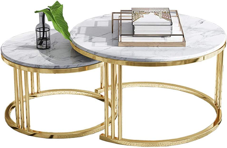 Home Décor Furniture Accent Cocktail Table, End Table, Nordic Round Nesting Tables, Leisure Coffee Table, Marble Top, Metal Base, Set of 2, for Living Room or Lounge Living Room or