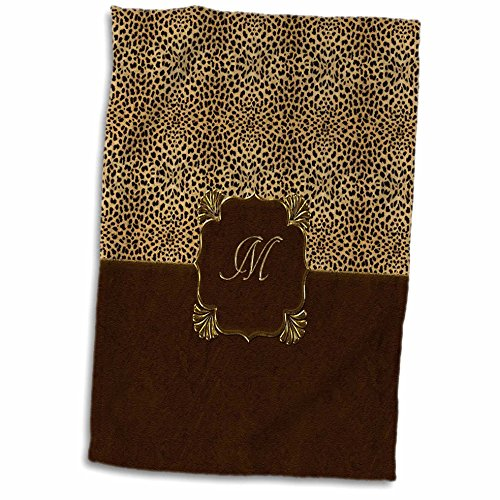 3D Rose Elegant Cheetah Animal Print with Gold Framed Monogram Letter M Hand/Sports Towel, 15 x 22
