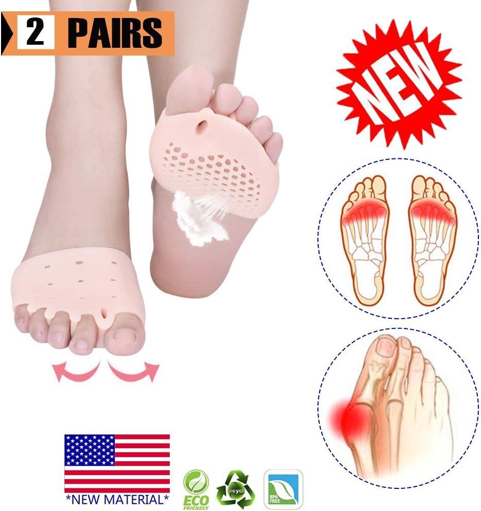 Almohadillas metatarsianas, separador de dedos, gel Separadores de almohadillas metatarsianas, (4 PCS) Nuevo material,gel transpirable y suave, lo mejor para pies ampollas, dolor en el antepié.