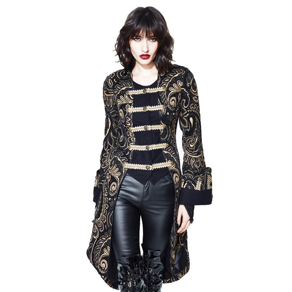 06202e79dfd7bb Devil Fashion Viktorianische Vintage Lange Slim Fit Jacke, Elegante  Klassische Palast Noble Gold Frauen Mantel, Mittelalterliche Charmante  Dreireihige Bühne ...