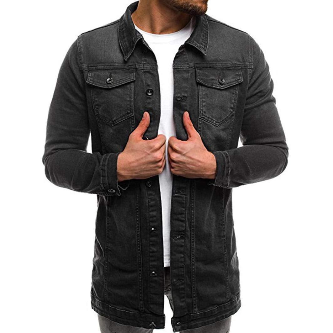 iZHH Mens Jacket Top Coat Outwear Autumn Winter Long Sleeve Distressed Denim(Black,US-2XL)