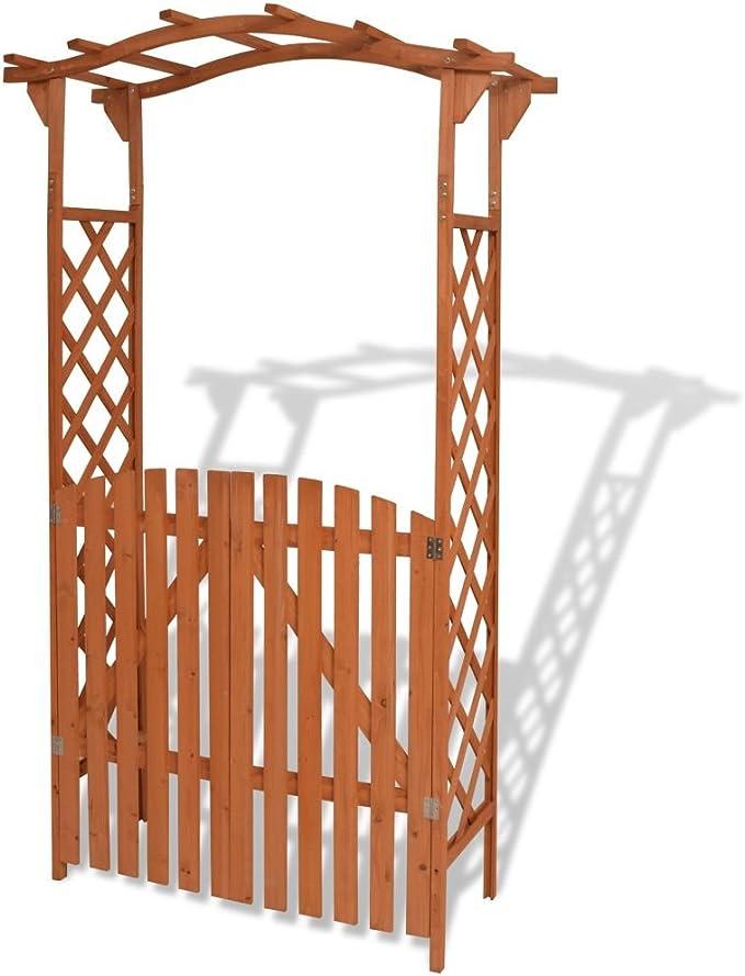 Festnight Arco de Jard¨ªn con Puerta de Madera Maciza 120x60x205 cm: Amazon.es: Hogar