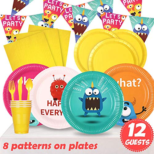 - Partybus Party Supplies Set - Serves 12, 94 Ct, Monster Theme Party Disposable Tableware and Decorations Kit for Boys Girls Kids Birthday, Includes Banner, Dinner Plates, Dessert Plates, Napkins, Cups, Table Cloth, Silverware