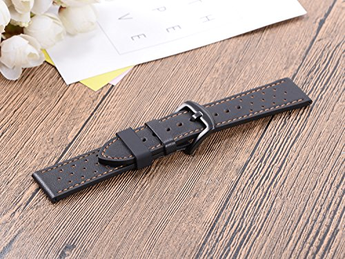 6Pieces Rubber Watch Band Strap Loops Black Clear Replacement Resin Holder Retainer 18mm 20mm 22mm with Spring Bar tools (14mm, Black)
