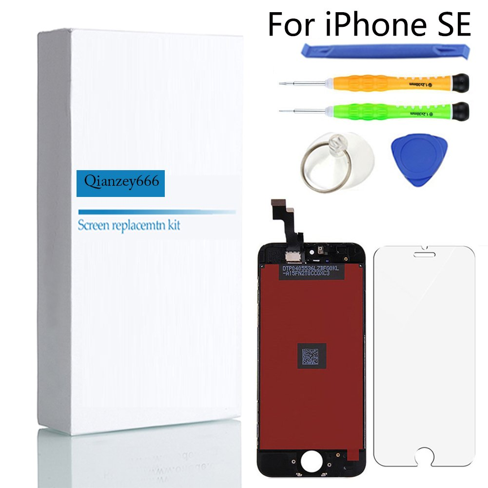For iPhone SE LCD Display Touch Screen Digitizer Replacement with Repair Kit + Tempered Glass (Black)