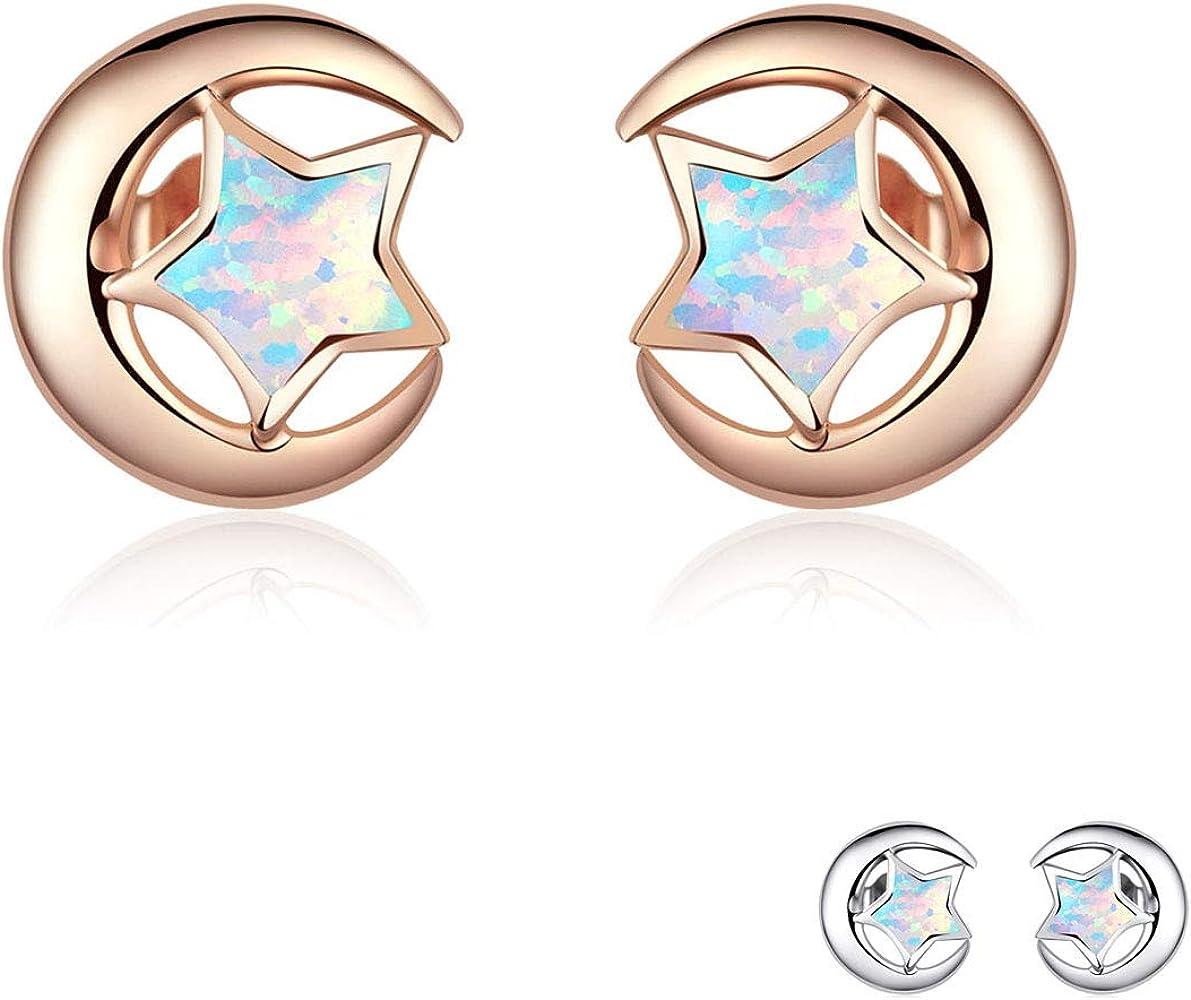 Gold gemstone earrings Celestial Earrings Sun and Star earrings cute earrings Stainless steel jewellery Rose Quartz gemstone earrings