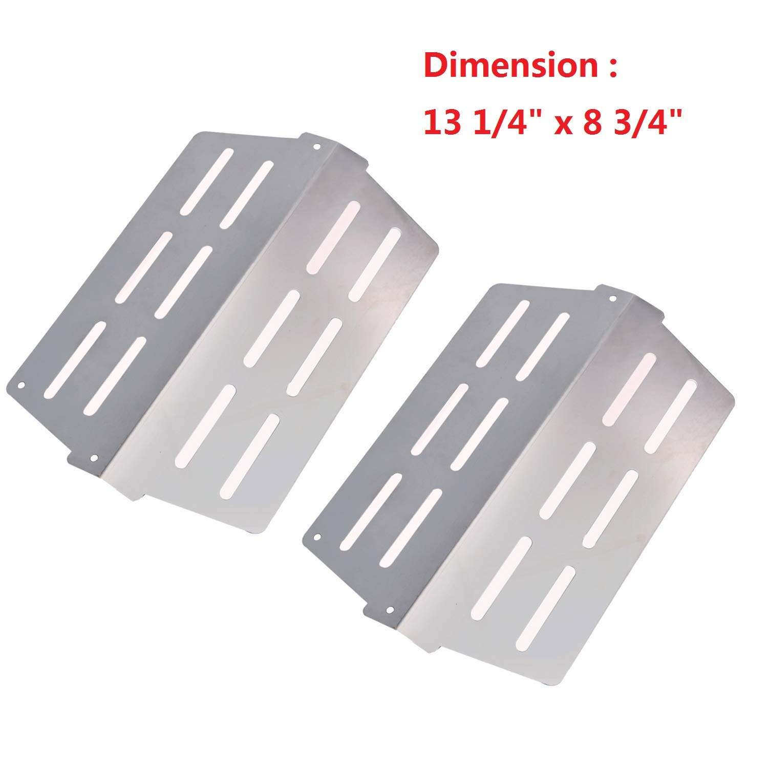 Heat Deflectors Replacement for Weber 7622 65505 Genesis 300 Series Grill,(2011 & Newer up Front Mounted Control Panels) Flavorizer Bar Heat Plate (13 1/4 x 8 3/4 inch)(2 Pack)