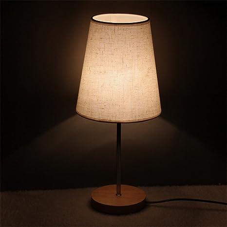 Pastoral pequeña lámpara de sobremesa tela pantalla lámpara de ...