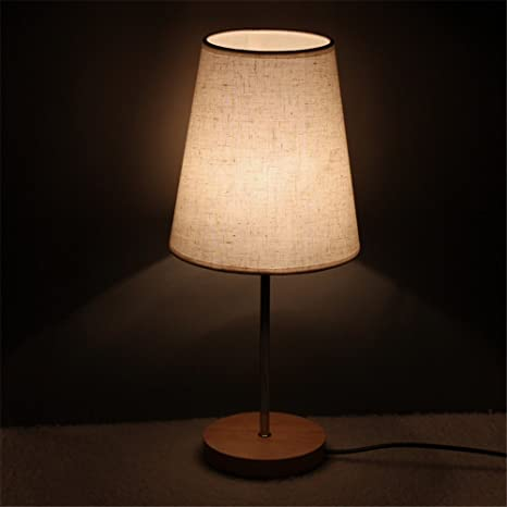Pastoral pequeña lámpara de sobremesa tela pantalla lámpara ...