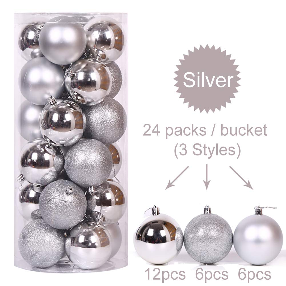 Tree Ornaments Hooks included 1.57 40mm Silver Christmas Style YaptheS 24ct Christmas Ball Ornaments Shatterproof Christmas Decorations Tree Balls Small for Holiday Wedding Party Decoration