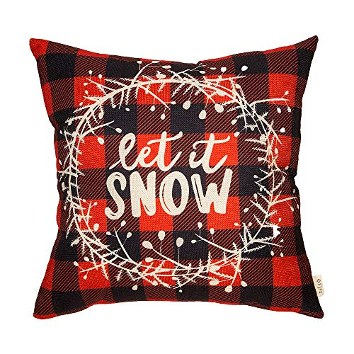Fjfz Christmas Holiday Red and Black Buffalo Checkers Plaid Let it Snow Winter Sign Cotton Linen Home Decorative Throw Pillow Case Cushion Cover with Words for Sofa Couch, 18 x 18