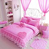 Sisbay Fashion Princess Bedding Full Size Pink,Baby Girls Quilt Cover Polka Dot,Shabby Chic Voile Bed Skirt Pillows Bed in a Bag for Kids,7pcs