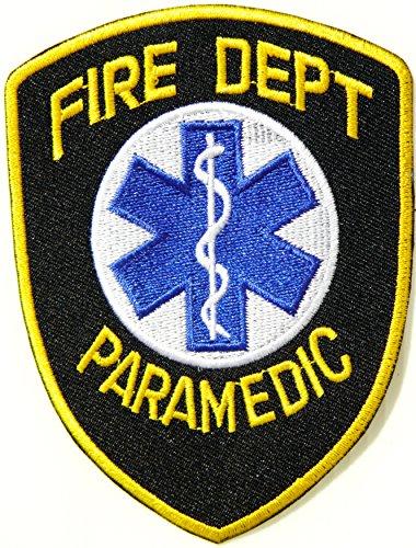 [FIRE DEPT PARAMEDIC EMT Logo T shirt Jacket Uniform Shoulder Patch Iron on Embroidered Sign Badge] (First Responders Costumes)