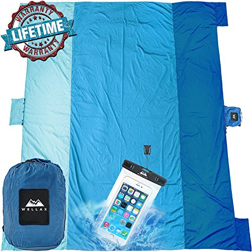 (WELLAX Sandfree Beach Blanket - Huge Ground Cover 9' x 10' for 7 Adults - Best Sand Proof Picnic Mat for Travel, Camping, Hiking and Music Festivals - Durable Tarp with Corner Pockets)