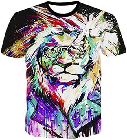 Raisevern Unisex Glasses Lion Print Short Sleeve T-Shirts Tees, Galaxy Lion, X-Large