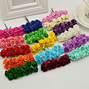 Heads Orchid 144Pcs 1Cm Artificial Paper Flowers for Wedding Car Fake Roses Used for Decoration Candy Box DIY Wreath Handmade 65