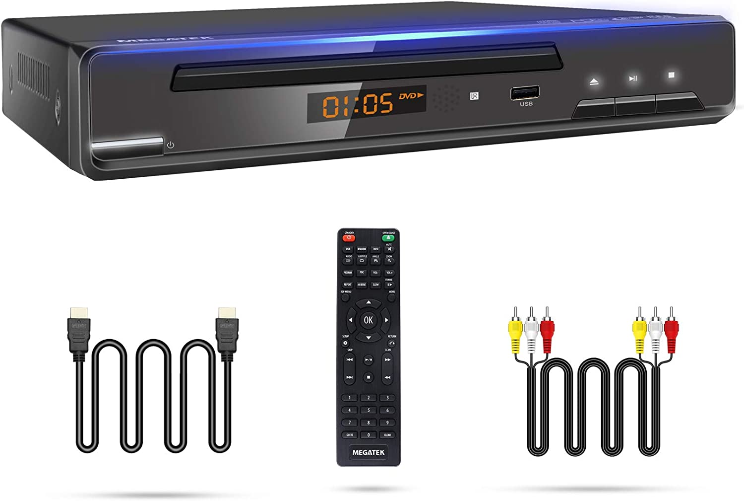 Megatek DVD Player, Compact DVD Player for TV with HDMI/AV/Coaxial Outputs, CD Player for Home, Multi-Region Region-Free DVDs, DivX, MP4, MP3, USB, PAL/NTSC System, Metal Case, w/ Remote & HDMI Cable