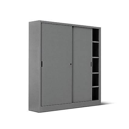 ITALFROM Armario de Metal para Oficina Antracita, Armario Metálico 180 X 60 X 200 2553