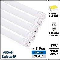 Tubes Fluorescentes LED T8 G13 Lumiéres fluorescentes 120cm 17W Blanc Froid 6500k avec Starter équivaut 36W pour cuisine, garage, atelier